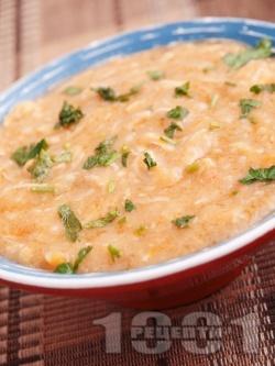 Пиле фрикасе със сметана, гъби, чесън и червен пипер - снимка на рецептата